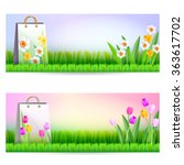 two banners with shopping bags. ... | Shutterstock .eps vector #363617702