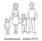 sketch cartoon happy family... | Shutterstock .eps vector #363617972