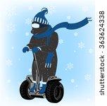 funny bear on a winter... | Shutterstock .eps vector #363624338