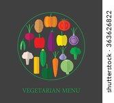 vegetarian menu. icons of...   Shutterstock .eps vector #363626822