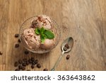 coffee ice cream in glass bowl... | Shutterstock . vector #363643862