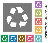 recycling flat icon set on...