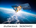 space satellite orbiting the...