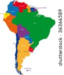 colorful south america map with ... | Shutterstock .eps vector #36366589