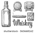 whiskey glass with ice cubes ... | Shutterstock .eps vector #363668162