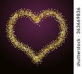 gold beaded heart. vector... | Shutterstock .eps vector #363669836