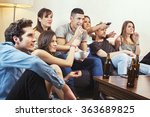 group of friends watching tv at ... | Shutterstock . vector #363689825