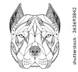 pit bull terrier head zentangle ... | Shutterstock .eps vector #363693842