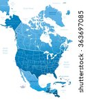North America Blue Map Vector...