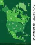 north america green map vector... | Shutterstock .eps vector #363697142