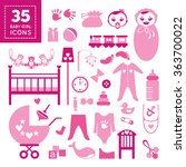 Cute Pink Icons Of Babies Thing ...