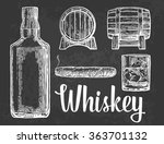 whiskey glass with ice cubes ... | Shutterstock .eps vector #363701132