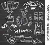 sport auto items doodles... | Shutterstock . vector #363703202