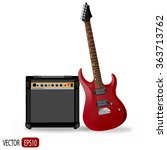 realistic red electric guitar... | Shutterstock .eps vector #363713762