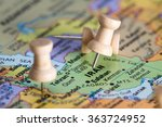 close up of a world map focused ... | Shutterstock . vector #363724952
