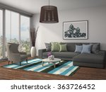 interior with sofa 3d