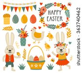 set of cute easter characters... | Shutterstock .eps vector #363740462