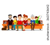 big happy family sit on sofa.... | Shutterstock .eps vector #363743642