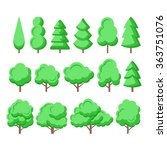 trees vector flat icons set | Shutterstock .eps vector #363751076