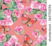 begonia  butterfly  watercolor  ... | Shutterstock . vector #363753296