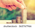 close up of hand stacking gold... | Shutterstock . vector #363767966