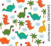 cute dinosaur cartoon vector... | Shutterstock .eps vector #363804092