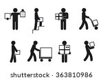 delivery man poses. courier... | Shutterstock .eps vector #363810986