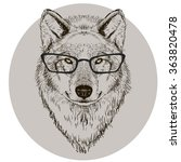 Portrait Of Wolf With Glasses