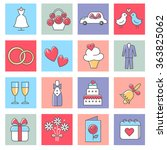 wedding icons  love and... | Shutterstock .eps vector #363825062