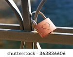 love lock engraved with a heart ... | Shutterstock . vector #363836606
