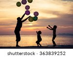 father and children with... | Shutterstock . vector #363839252