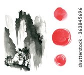 hand drawn ink sumi e elements  ...   Shutterstock . vector #363845696