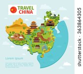 china travel vector map with... | Shutterstock .eps vector #363864305