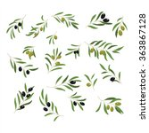 olive branches with olives... | Shutterstock .eps vector #363867128