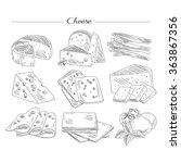 types of cheese. handdrawn... | Shutterstock .eps vector #363867356