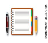 blank notebook with pen and... | Shutterstock .eps vector #363873785