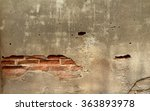 Old Concrete Wall With Cracks...