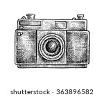 black and white ink hand drawn... | Shutterstock .eps vector #363896582