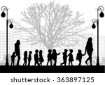 group of children on a walk. | Shutterstock .eps vector #363897125