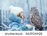 cute little girl in warm... | Shutterstock . vector #363924428