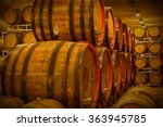 cellar with barrels for storage ... | Shutterstock . vector #363945785