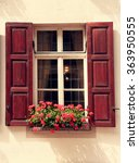beautiful window with shutters... | Shutterstock . vector #363950555