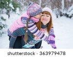 two girls having fun in winter  ...   Shutterstock . vector #363979478
