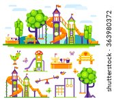 children's  playground. teeter... | Shutterstock .eps vector #363980372