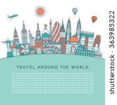 travel and tourism background.... | Shutterstock .eps vector #363985322