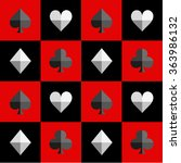 Card Suit Chess Board Red And...