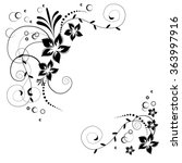 Flower Corner In Vector. Black...