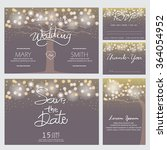 wedding invitation  rsvp  and... | Shutterstock .eps vector #364054952