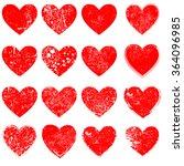 set of hearts . grunge stamps... | Shutterstock .eps vector #364096985