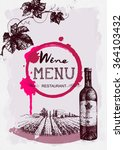 wine menu restaurant brochure.... | Shutterstock .eps vector #364103432